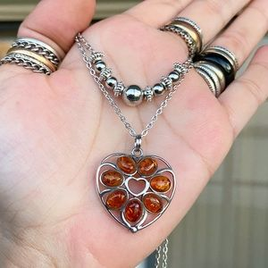 925 Sterling silver amber heart layer necklace
